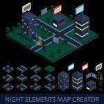 Isometric night elements map creator — Stock Vector #55091173