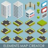 Isometric elements map creator — Stock Vector
