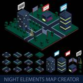 Isometric night elements map creator — Stock Vector