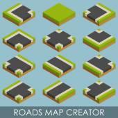 Roads map creator. Isometric — ストックベクタ
