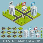 Isometric elements map creator — Stock Vector