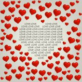 Heart Valentines day card with love text — Stockvektor