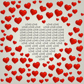 Heart Valentines day card with love text — Vector de stock