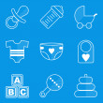 Blueprint icon set. Baby. Children. Family — Stock Vector #57604463