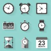 Flat icon set. Time. Clock. White style — Stockvector