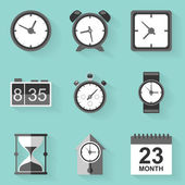 Flat icon set. Time. Clock. White style — 图库矢量图片