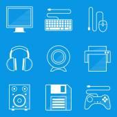 Blueprint icon set. Computer — Stock Vector