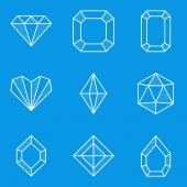 Blueprint icon set. Diamond — Stock Vector