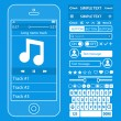 UI elements blueprint design vector kit in trendy color with simple mobile phone, buttons, forms, windows and other interface elements. Music player screens — Stock Vector #57933377