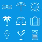 Blueprint icon set. Travel — Stock Vector