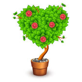 Isolated tree with flowers in clay pot. Form of heart — Vecteur