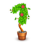 Isolated tree with flowers in clay pot. In the form of number 1 — Vecteur