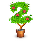 Isolated tree with flowers in clay pot. In the form of number 2 — Vecteur