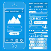 UI elements blueprint design vector kit in trendy color with simple mobile phone, buttons, forms, windows and other interface elements. Login screens — Stock Vector