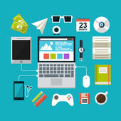 Set of flat design concept icons for workspace — Stock Vector