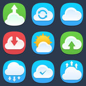 Set of clouds mobile icons in flat design — Vector de stock