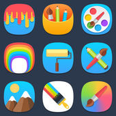 Set of art and paint mobile icons in flat design — Stock Vector