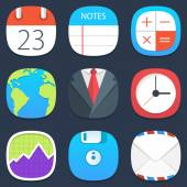 Set of office mobile icons in flat design — Vetorial Stock