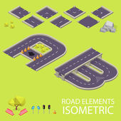 Road elements isometric. Road font. Letters A and B — Stockvector