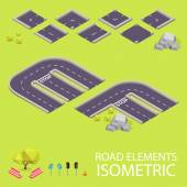 Road elements isometric. Road font. Letters E and F — Vetorial Stock