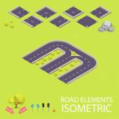 Road elements isometric. Road font. Letter M — Stockvector