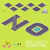 Road elements isometric. Road font. Letters N and O — Stockvector