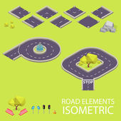 Road elements isometric. Road font. Letters P and Q — Stockvector