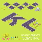 Road elements isometric. Road font. Letters K and L — Stockvector
