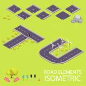 Road elements isometric. Road font. Letters T and U — Vetorial Stock