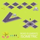Road elements isometric. Road font. Letters V and X — Stockvector