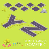 Road elements isometric. Road font. Letters Y and Z — Stockvector