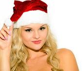 Beautiful blonde girl in a cap of Santa Claus — Stock Photo