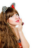 Beautiful brunette girl with cat ears — Stock Photo