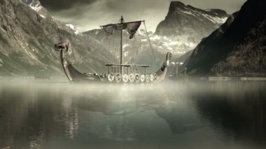 Viking Ships on nordic sea, Epic FullHD VisualFX shot — Stock Video