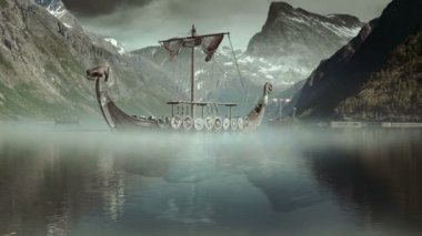Viking Ships on nordic sea, Epic FullHD VisualFX shot — Stock Video