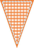 Gingham Pennant Triangle in orange with white stitched border — Stockfoto
