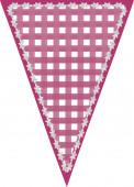 треугольник вымпела пестротканого гринсбона темно-розового цвета с белой сшитой границей — Стоковое фото