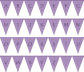 Alphabet on Gingham Pennant Triangle in purple — Foto de Stock