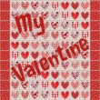 My Valentine Patchwork with Hearts Red, Pink, White — Stock Photo #61912101