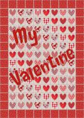My Valentine Patchwork with Hearts Red, Pink, White — Stock Photo