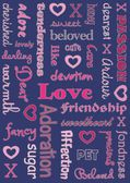 Loving Words and Hearts and Kisses — 图库照片