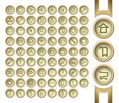 Golden interface buttons. — Stock Vector