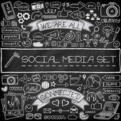 Doodle social media icons set with chalkboard effect — Stock Vector