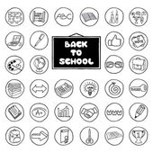 Hand drawn school buttons set — Stock Vector