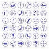 Doodle arrow buttons. — ストックベクタ
