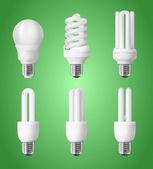 Set of energy saving light bulbs — Stock Vector