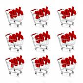 Shopping carts with discount prices — Stock Photo
