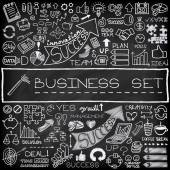 Set di icone disegnata a mano business — Vettoriale Stock