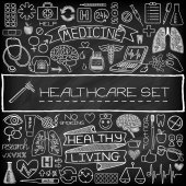 Hand drawn medical set of icons — Stock Vector