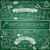 Doodle social media icons set. — Stock Vector